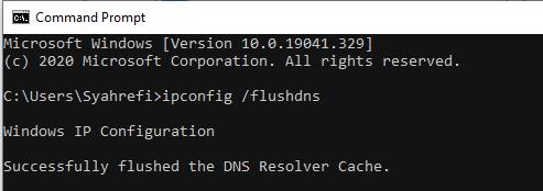 Command Prompt ipconfig flushdns