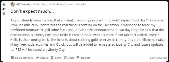 Grand Theft Auto Online Rumor Liberty City Niko Bellic Reddit
