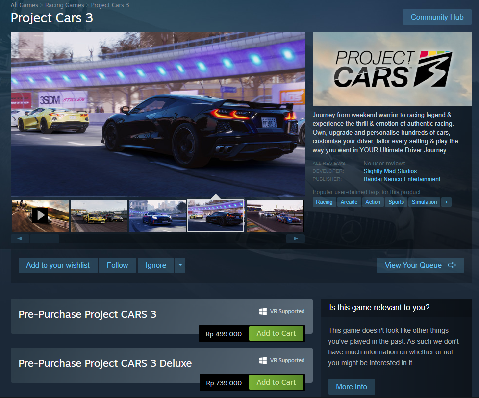 Project Cars 3 Pre-Purchase
